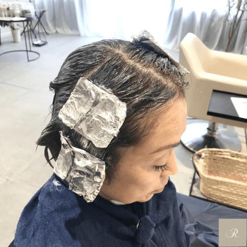 ハイライトを使ったヘアカラーの施術例1