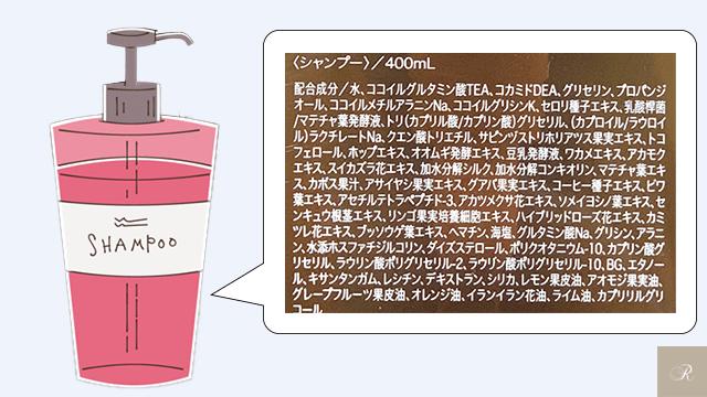 シャンプーボトル裏の成分表 例-1